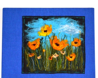 Yellow Flowers colourful and spring like fiber painting needle felted and stitched by Joyful Coyote Designs