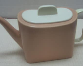 Franciscan Gladding McBean China - Metropolitan Shape Vintage Coral and White Teapot - 1940s - Shipping Included