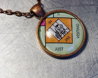 MONOPOLY In Jail Just Visiting  COPPER PENDANT Upcycled Jewelry