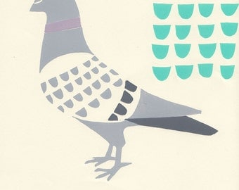 Pale grey pigeon, with mint and mauve - urban wildlife lino print part 1