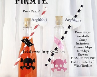 CORK BOTTLES Pirate Party Supplies 5  / Invitation / Secret Letter/ Treasure Map /  Favor Sized Clear Plastic  Pirate & Princess Party