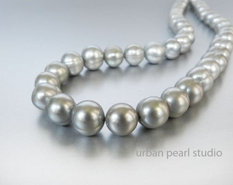 Silver Pearl Necklace Gray Bridesmaid Jewelry Bridal Pearls Grey Pearl Necklace Bridesmaid Gift