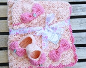 Baby Blanket Set with Matching Hat & Booties - Light Country Peach