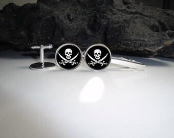 Pirate CuffLinks and Tie Clip 20mm/Pirate Cufflinks for Him/ Skull Cufflinks Skull Tieclip Men Gift