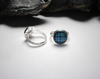 Tartan Adjustable Ring Tartan Jewelry Blue and Green Tartan Adjustable Silver Ring