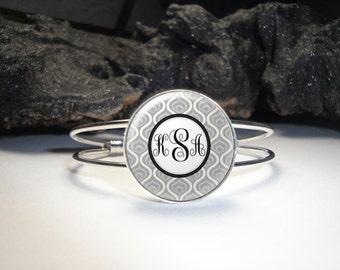 Monogram Pendant Bracelet, Personalized Bracelet, Monogram Cuff Bracelet, Monogram Accessories, Monogram Jewelry, Personalized Cuff