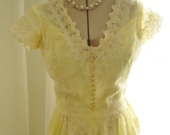 "Vintage 50's Lemon Yellow Dress with Wide Lace Trim by Famed Designer Emma Domb 36"" Bust"