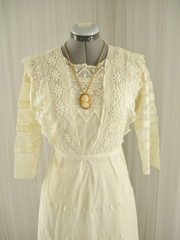 Late 1800's Edwardian Tambour Lace Wedding/Day Dress