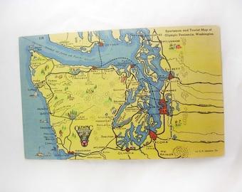 Washington Tourist Road Map Postcard Vintage Linen Sportsman Olympic Peninsula Unused Blank