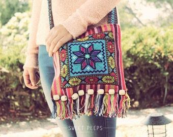 Bohemian Aztec CrossBody Bag, Button Tote, Back To School CrossBody, Vintage Aztec Print CrossBody, Hipster CrossBody Bag