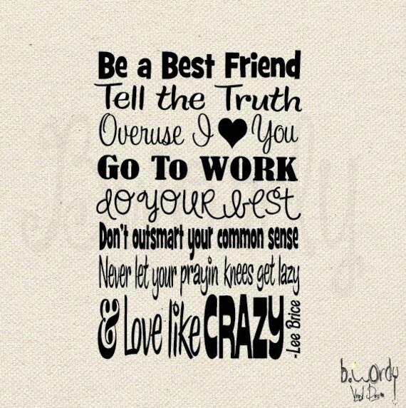 Love Like Crazy Lyrics by Lee Brice Vinyl Decal- Wall Art- Subway Art, 2 Sizes Available