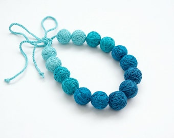 Blue fabric necklace handmade necklace thread cotton for women textile beads natural pastel spring aqua