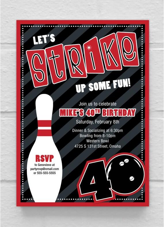 Items similar to BIRTHDAY INVITATION // Adult Bowling 30th ...