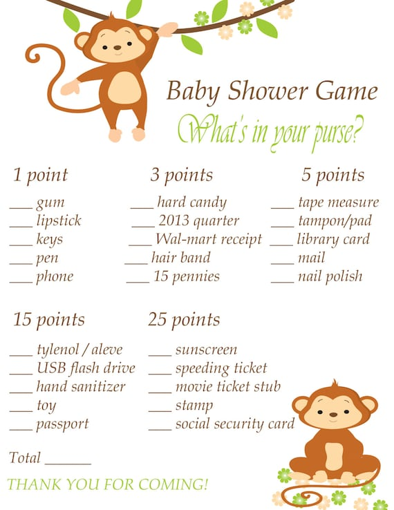 Items similar to Printable Baby Shower Game - What's in ...