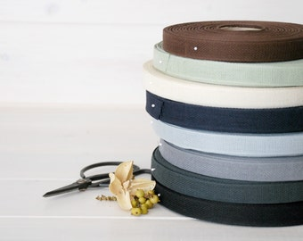 """Italian Cotton Ribbons - 15 Yards of 100% Cotton Ribbon - 1/2"""" wide - Loose Weave Ribbons - You choose your Color - Eco Friendly"""
