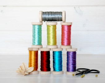 5 Yards - 3mm Rat-Tail Ribbon - On a Wooden Spool - Rat Tail Cord - 100% Rayon Rat Tail Cord - Rattail Cord - Choose your Color - On Sale