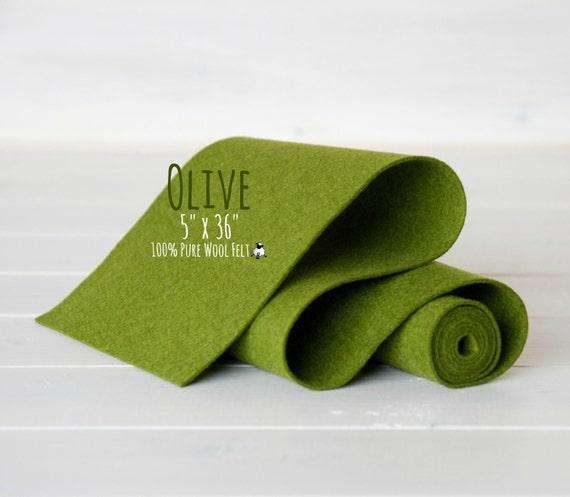 "100% Merino Wool Felt - 5"" x 36""  Wool Felt Roll - Wool Felt Color Olive-1060 - Soft Wool Felt - Olive green wool felt - Merino Wool Felt"
