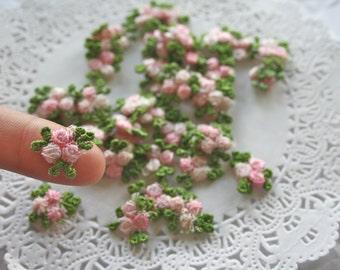 12 Venise Light Pink Flower Appliques