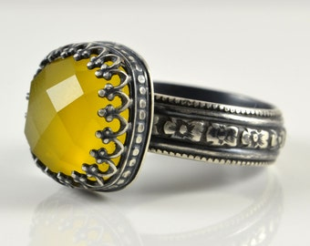Yellow Chalcedony Ring in Sterling Silver, Faceted Cushion Yellow Chalcedony Stone in Crown Setting