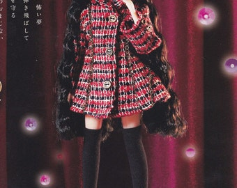 Licca Kenner Blythe 22cm doll A Line Fall Season Coat & High Knee Socks set pdf E PATTERN pdf in Japanese and Template Titles in English