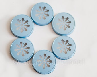 Set of 24 Light Blue Color Daisy Mason Jar Lids DIY Wedding, Party Decor