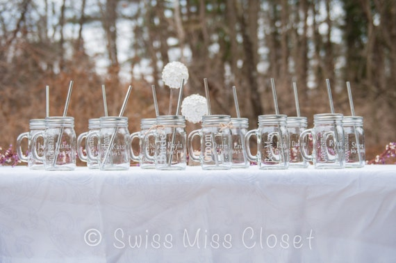 Custom Etched Bride and Groom and Wedding party Set of 12 Handled Mason Jars 16oz Eco Friendly