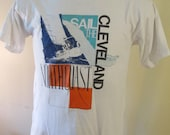 Cleveland Sail the North Coast vintage t shirt white with colorful graphics 1984 Size Large