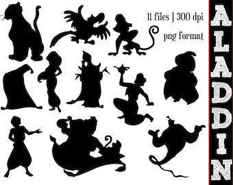 Aladdin Silhouettes // Disney Princess Jasmine Silhouette // Disney Clipart
