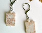 Stone Earrings, Redline Marble Dangle Earrings, Handmade