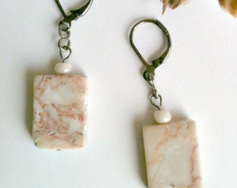 Stone Earrings, Redline Marble Dangle Earrings, Handmade