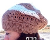 Crochet Slouch Hat with Stripes Instant Download PDF File Pattern