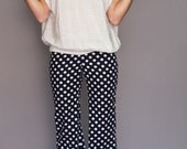 10 SALE 60's Pinup Pants: vintage womans gorgeous navy blue and white polka dot retro hipster darted cigarette pants size XS