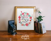 Bible verse art print printable nursery scripture wall art print, poster decor - Proverbs 31:25 inspirational quote floral INSTANT DOWNLOAD