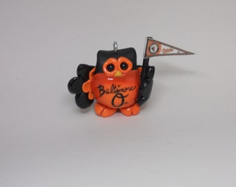 MLB BALTIMORE ORIOLES Polymer clay owl ornament figurine keepsake