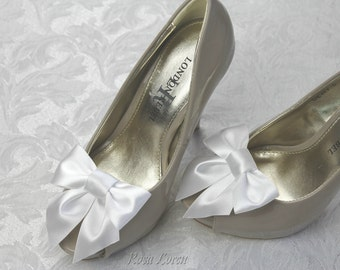 White Shoe Clips, White Satin Bow Shoe Clip, White Wedding Accessories Shoes Clip