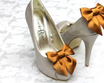 Bronze Bow Shoe Clips, Bronze Shoe Clip, Bronze Wedding Accessories Shoes Clip, Bronze Bow Clip Shoes