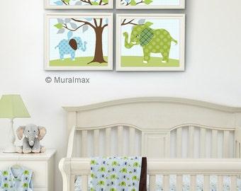 Elephant Nursery Blue and Green, Baby Boy Room Nursery prints,  Set of 4 prints, Match Skip Hop Elephant Parade Nursery Bedding