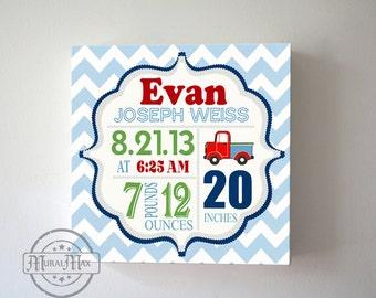 Baby Birth Announcement Nursery Art ,Baby Shower Gift  Boys Nursery Decor, Personalized Nursery Decor Custom Birth Stat Canvas Art