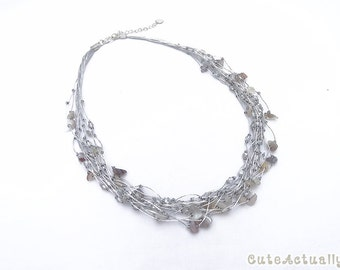 Silver gray stone necklace with crystal on silk thread, Multistrand necklace, agate