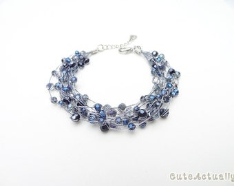 Dark blue crystal bracelet on silk thread, Dark blue bracelet