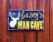 Personalized Man Cave Sign Mother's Day Gift Ideas for Men and Hunters Deer Antlers Sports Team Gifts for Him Boy's Room Hunting Decor
