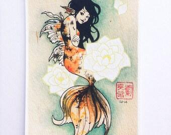 Goldfish Mermaid, 4x6 limited edition giclee print 8/15 - koi colorful mermaid art, mermaid print, fantasy art, aquatic art - made to order