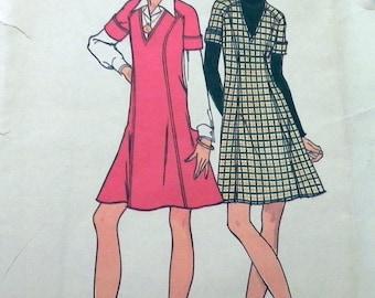 "1970s A-line Jumper Princess seam dress sewing pattern Butterick 3764 Size 10 Bust 32.5"" UNCUT FF"