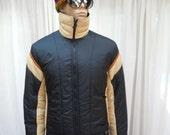 "Vintage 70's Men's White Stag Ski Nylon Jacket Black and Tan Stripe Light Weight Chest 42"""