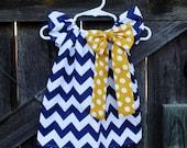 Navy Chevron Mustard Yellow Polka Dot Bow Peasant Dress - Baby Girl