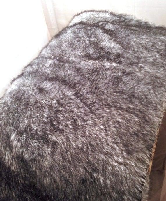 SALE Faux Fur Rug Black/Pepper Plush Vintage Soft By