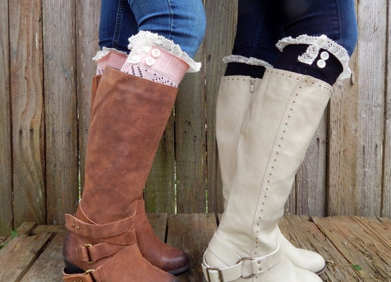 Boot Cuffs Vintage style Off-White lace sage green ivory pink gray tan beige boot socks