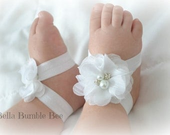 White Baby Barefoot Chiffon Flower Sandals for Newborn Infant Baby or Toddler Girls, Bottomless Sandles, Clothes, Christening Baptism