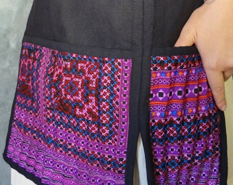 Unique Tribal Vintage Hmong Half Apron Made from Upcycled Hmong Hilltribe Clothing