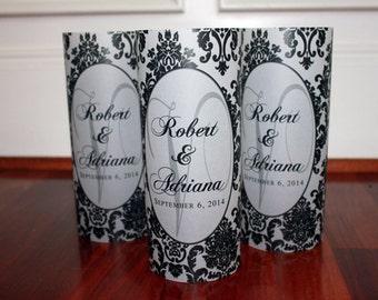 Monogram Luminaries set of 20, Monogram Wedding Decor, Damask Wedding, Personalized Wedding Decor, personalized luminaries